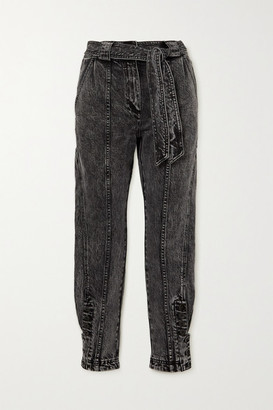 Ulla Johnson Carmen Belted Acid-wash High-rise Tapered Jeans - Mid denim