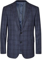 Pal Zileri Dark Blue Checked Wool Blazer