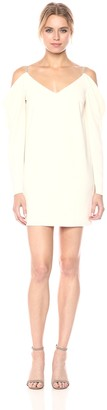 Halston Women's Cold Shoulder Draped Long Sleeve Crepe Dress