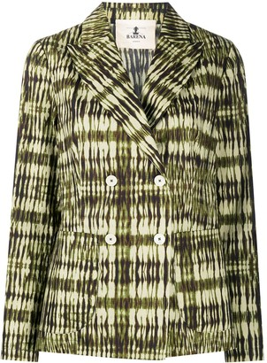 Barena Abstract Print Double-Breasted Blazer