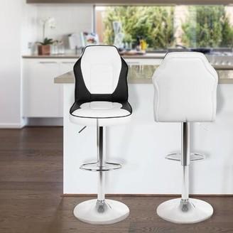Orren Ellis Marrs Extra Comfort Modern Racing Seat Adjustable Height Swivel Bar Stool Color: Black