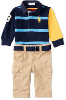 Ralph Lauren Cotton Rugby Jersey w/ Cargo Pants, Red/Blue, Size 9-24 Months