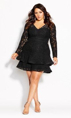 City Chic Lacey Love Dress - black