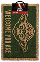 "Star Wars Yoda ""Welcome You Are"" Door Mat, Polyurethane, Brown"