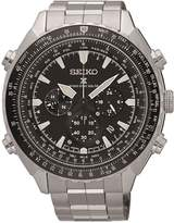 Seiko Black Chronograph Dial Stainless Steel Bracelet Mens Watch