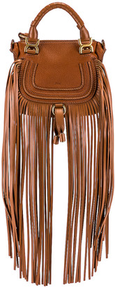 Chloé Mini Marcie Fringe Double Carry Bag in Tan | FWRD