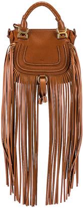 Chloé Mini Marcie Fringe Double Carry Bag in Tan | FWRD