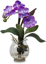 Bed Bath & Beyond Mini Vanda with Fluted Vase Silk Flower Arrangement in Purple