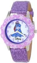 Disney Kids' W000871 Tween Eeyore Stainless Steel Printed Bezel Purple Glitter Leather Strap Watch