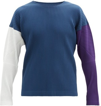 Homme Plissé Issey Miyake Colour-block Pleated Long-sleeved T-shirt - Navy Multi