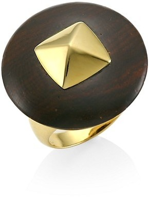 Maria Canale Voyageur 18K Yellow Gold & Wood Disc Ring