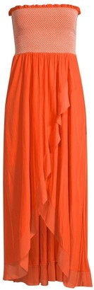 Ramy Brook Demetra Smocked Strapless High-Low Dress