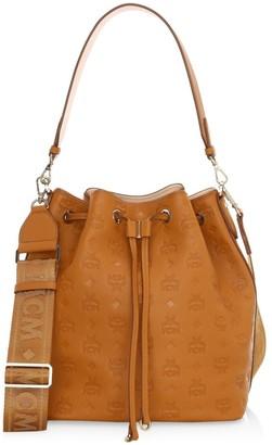 MCM Medium Essential Monogram Leather Bucket Bag