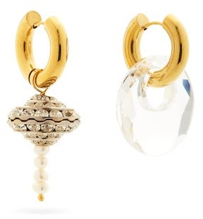 Timeless Pearly Mismatched Pearl & 24kt Gold-plated Hoop Earrings - Crystal