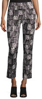 Max Mara Palm-Print Cropped Pants, Black