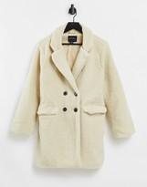 Thumbnail for your product : Brave Soul kyrati borg coat in dark cream