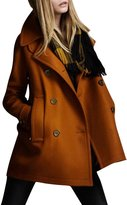 Pink Wind Women's Winter Warm Double Breasted Wool Pea Coat Jacket