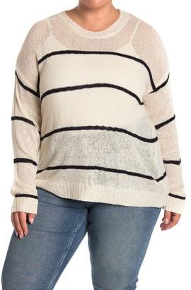 Bobeau Long Sleeve Striped Sweater (Plus Size)