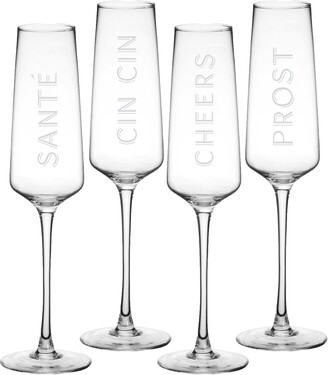 Cathy's Concepts Cheers Set of 4 Champagne Flutes