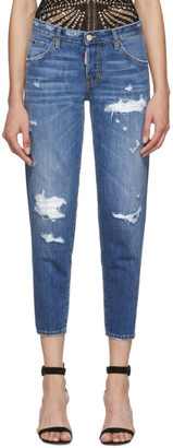 DSQUARED2 Blue Denim Hockney Ripped Jeans