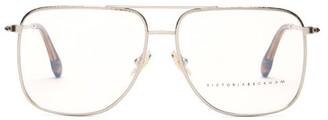 Victoria Beckham Aviator Hammered-metal Glasses - Silver
