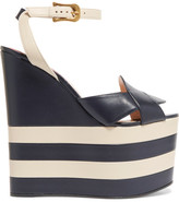 Gucci Two-tone Leather Wedge Sandals - Navy