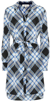 Diane von Furstenberg Plaid silk shirt dress