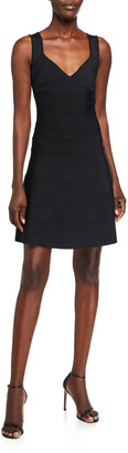 Herve Leger Icon Flare-Skirt Sleeveless Dress