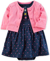Carter's 2-Pc. Cardigan & Dot-Print Bodysuit-Dress Set, Baby Girls