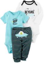 Carter's 3-Pc. Cotton Beyond Cute Space Bodysuits & Pants Set, Baby Boys