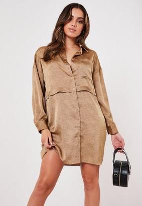 Missguided Stone Satin Ditsy Dalmatian Utility Shirt Dress