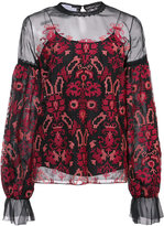 Oscar de la Renta sheer blouse with print