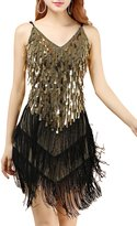 URqueen Women 1920s Gatsby Sequined Embellished Fringed Dress