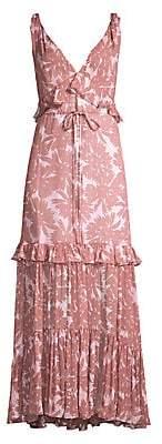 Diane von Furstenberg Women's Misha Ruffle Daisy Print Maxi Dress