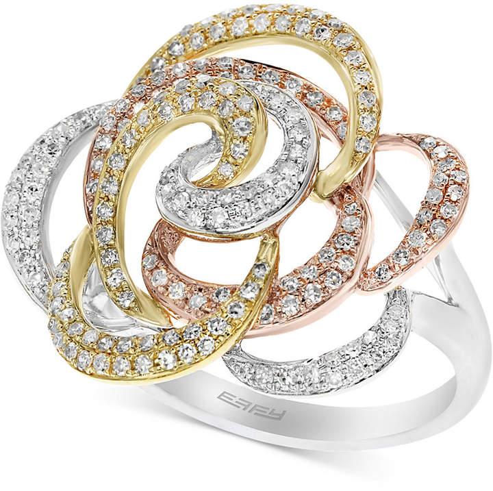 Effy Diamond Flower Swirl Ring (5/8 ct. t.w.) in 14k Gold, White Gold & Rose Gold