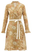 La Costa Del Algodon - Eugenie Floral-print Cotton-muslin Robe - Womens - Brown Print