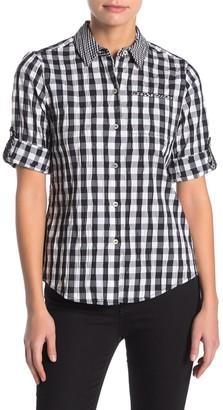 Foxcroft Reece Gingham Crinkle Shirt (Petite)