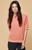 MinkPink Textured Raglan Pullover Sweatshirt