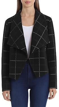 Bagatelle Windowpane Drape Front Jacket