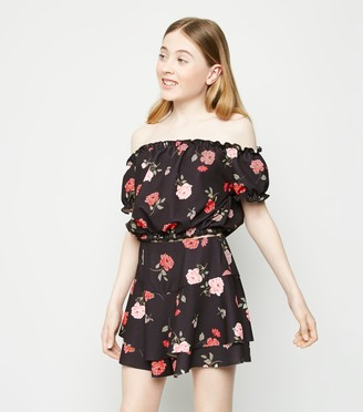 New Look Girls Floral Scuba Bardot Top