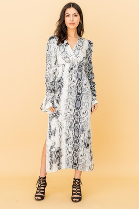 LIENA V-wrap Midi Dress in Grey Snakeskin Print