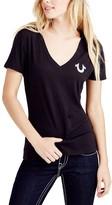 True Religion Women's Tee Shirts BLACK - Black Classic Logo Deep V-Neck Tee - Women & Juniors