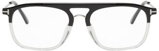 Tom Ford Black and Transparent Blue Block Soft Square Glasses