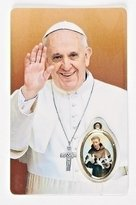 Gifts by Lulee Pope Francis The Pope of The People Holy Card with Sealed Medal of Saint Francis of Assisi