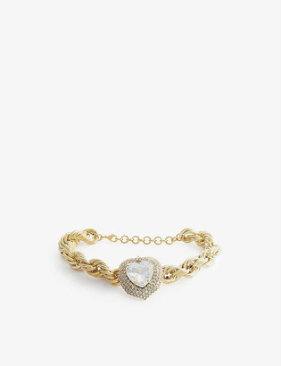 Alessandra Rich Heart glass and gold-toned necklace
