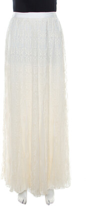 Alice + Olivia Cream Floral Embroidered Plisse Silk Louie Maxi Skirt S