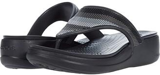 Crocs Monterey Bead Strap Wedge Flip (Black/Multi) Women's Shoes