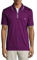 Salvatore Ferragamo Short-Sleeve Zip Polo Shirt, Purple