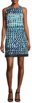 Carmen Marc Valvo Sleeveless Geometric Cocktail Dress, Jade/Multicolor
