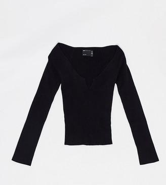 Asos DESIGN Petite v neck ribbed jumper